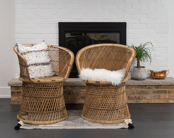 Vintage Set Of 2 Rattan Fan Chairs/ Barrel Wicker Chairs/ Accent Chairs/  Dining
