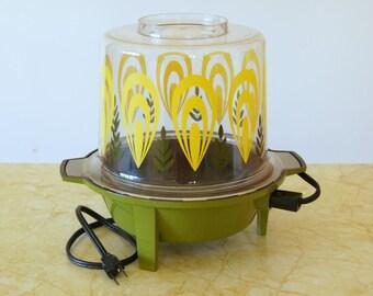 Vintage Popcorn Popper, West Bend Electric, Yellow Flower Power, Avocado Hippie Kitchen, Brady Bunch Decor