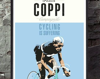Fausto coppi bianchi retro vintage cycling poster wall decor art print. Unframed