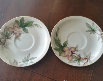 Two Vintage Meito China, Woodrose Pattern  Saucers (B)