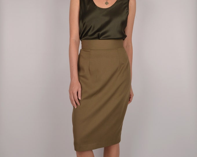 SALE Vintage High Waist Olive Pencil Skirt / s