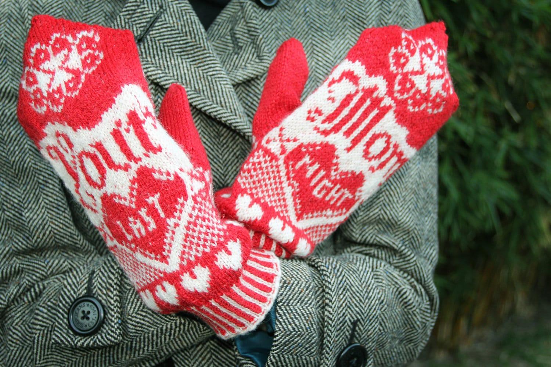Your Mom Last Night Mitten Pattern Knitting Pattern Red