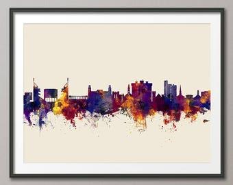 Fayetteville Skyline, Fayetteville Arkansas Cityscape Art Print (2799)