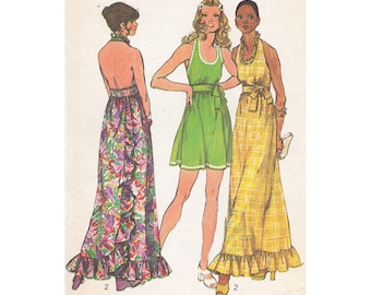 Simplicity 5683 Flared MIni or Maxi Halter Dress Pattern Size 8 Bust 31 1/2 Back Wrap Halter Dress with Scoop Neck & Back Ruffle Vintage 70s