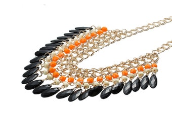 MULTISTRAND gold charms necklace black and Orange