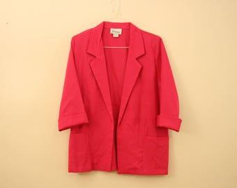 Oversize 90s Fuschia Blazer Jacket *Flat Rate Shipping* [Cute Vintage Sportscoat Coat Officewear Women's Size Small]