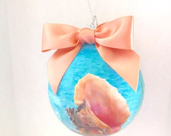Conch Shell Beach Theme Ornament  Mothers Day Gift under 20.00