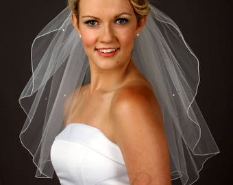 Short Veil Wedding, Bridal Veil with Crystals, One Layer Veil, Soft Tulle Veil - Available in 10 Sizes & 11 Colors - Fast Shipping!