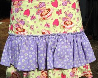 Vintage Strawberry Shortcake Green and Purple Fabric Half Apron