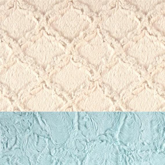 Adult Minky Blanket, Blue Ivory Blanket - Minky Throw Blanket - Twin Blanket // Lattice Blanket // Soft Blanket // Sea Glass