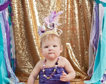 Birthday Girl Fancy Crown Hat in Lavender, Purple, Pink, Ivory and Gold with Flower and Feather Embellishments