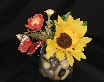 Sunflower & butterfly vase