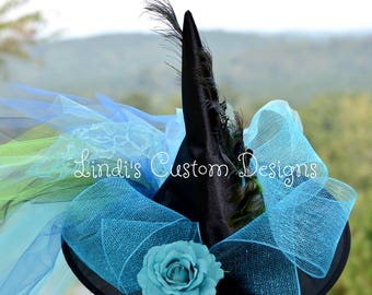 Peacock Witch Hat, Peacock Halloween Costume Accessory, Turquoise Green Over the Top Witch Hat, Adult Costume Burlesque Peacock Theme Hat