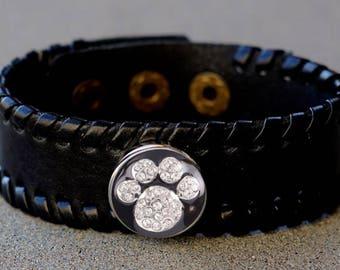 Paw Print Black leather band