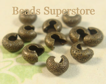 4 mm Antique Brass Stardust Crimp Bead Cover - Nickel Free and Lead Free - 50 pcs