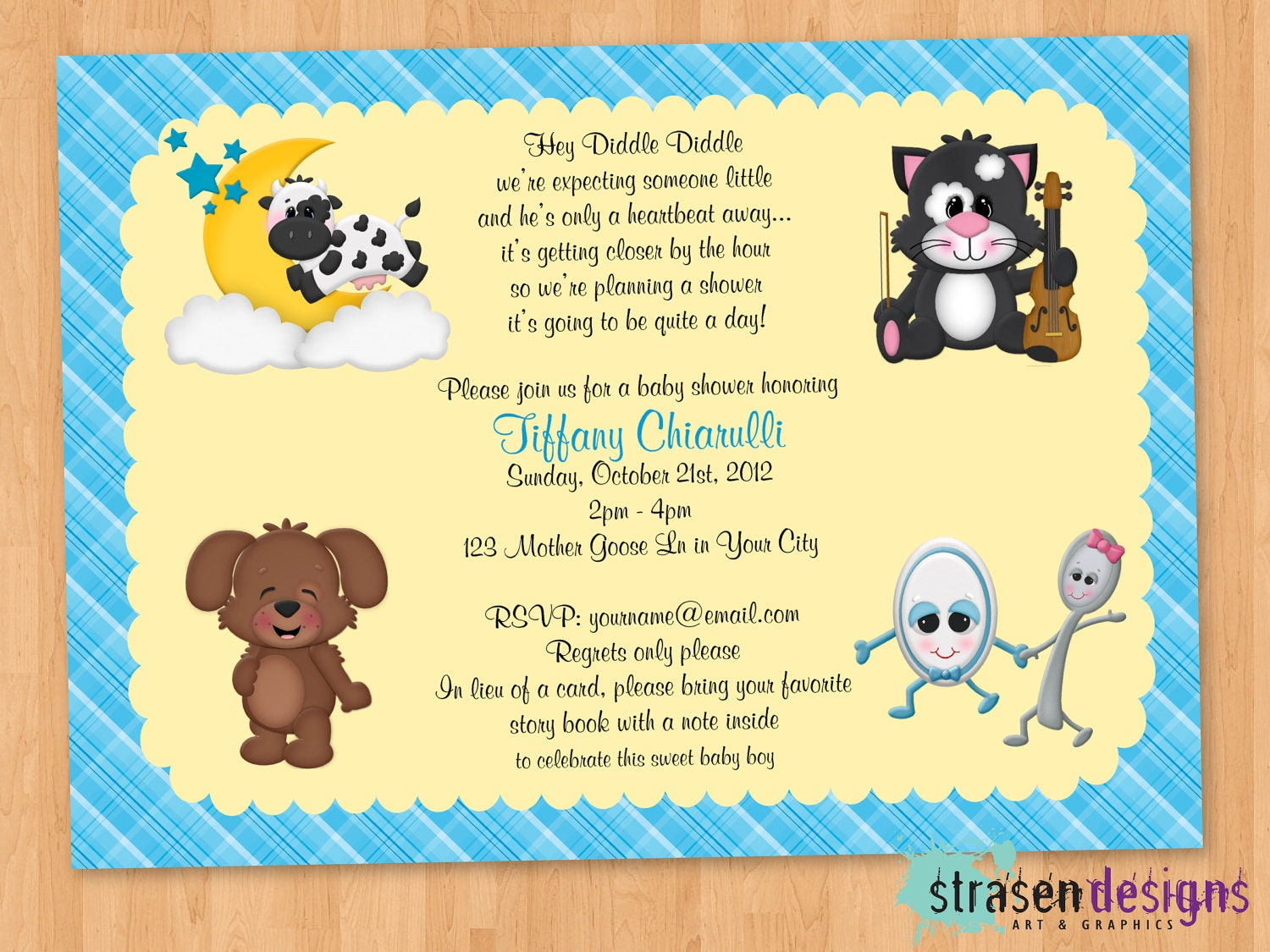 Nursery rhyme hey diddle diddle baby shower invitation zoom filmwisefo