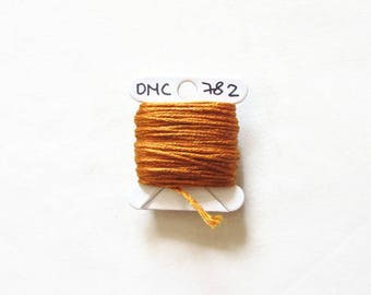 Golden brown embroidery thread,  DMC 782, stranded embroidery floss, cross stitch supplies, stranded cotton