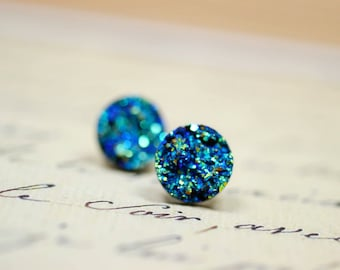 Titanium Blue Druzy Earrings / Faux Druzy Studs on Silver Post Backs / Iridescent Blue Green Studs