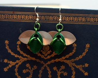 Green and Silver Tri-Scale Earrings