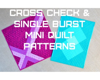 Cross Check and Single Burst Mini Quilt Patterns - A Pattern Digital Download (PDF) by Quilting Jetgirl