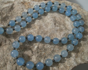 Agate Necklace with Hematite 658