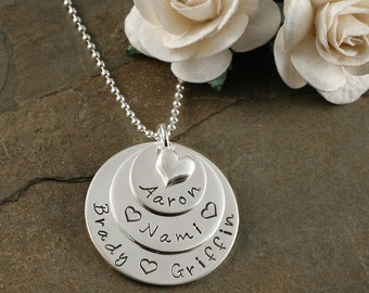 Hand Stamped Mommy Necklace with heart - Personalized mother's jewelry