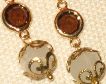 Gold tone Dangle Earrings With Filigree Bead Caps