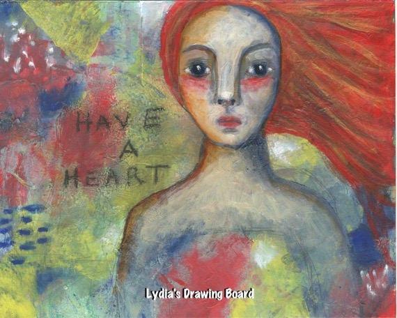 Girl Art, Girls Room Wall Art, Inspirational Prints, Mixed Media Print, Have a Heart, Women Artwork, Woman Artist, Woman Art Print, Dreamy