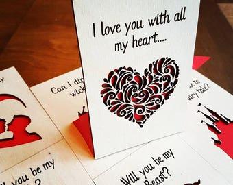 Valentines Card / Keepsake - Heart Swirls
