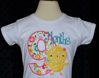 Personalized Birthday Baby Chick Month Milestone Applique Shirt or Bodysuit Girl or Boy