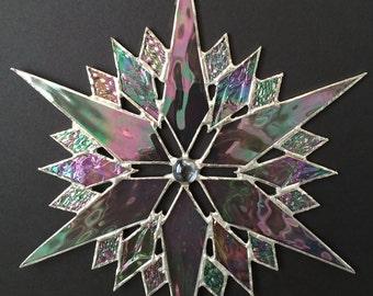 stained glass snowflake suncatcher  (design 35)