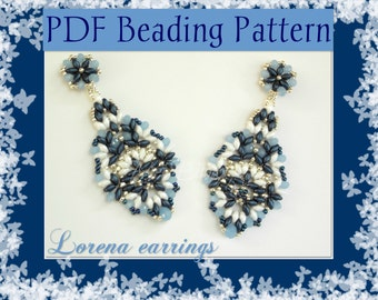 DIY Beading pattern Lorena earrings with Superduo beads and rondelle beads/ PDF tutorial with detailed instructions, images and diagrams