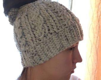 Crochet Messy bun bow Hat