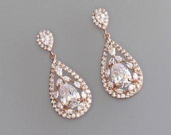 Rose Gold Earrings, Bridal Earrings, Vintage Style Crystal  Earrings, Clip on Option  COCO
