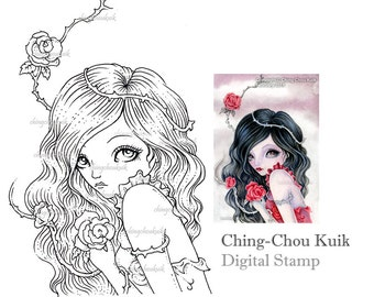 Rose with Thorns - Digital Stamp Instant Download / Rose Thorn Fairy Girl by Ching-Chou Kuik