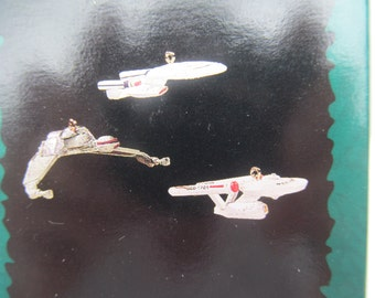 Hallmark  Miniature  Ornaments  set of  3  -  1995  The Ships  of  Star Trek   QX  14109