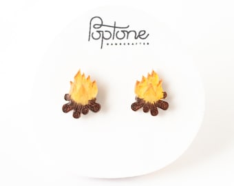 Campfire Earrings, camping earrings, campfire flame, hiking and outdoors jewelry