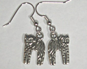Cat Earrings Made with Pewter Charms on Hypoallergenic Wires - 1.5mm