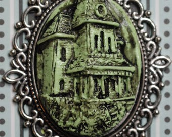 Horror Necklace - Halloween Jewelry - Necklace- Cameo - Psycho House Necklace  - Haunted  House -Bates Mansion