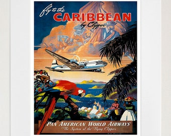 Caribbean Travel Poster Wall Art Print Home Decor (ZT611)
