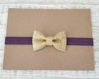 Plum and Gold Baby Headband - Baby Girl Headband - Newborn Headband - Plum Hair Bow - Gold Hair Bow - Holiday Headband - Plum Headband