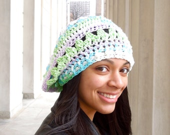 Crochet Cotton Slouchy Hat, Women, Teen, Multicolor, Tam, Spring Hat, Summer Hat,