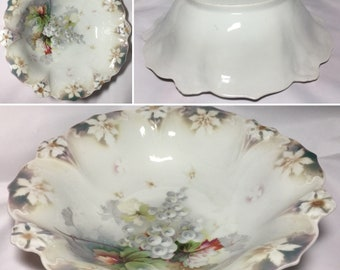 Vintage Collectible J.S.V. Germany Large Bowl Plate ~ White Poinsettias ~ Christmas