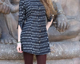 Ladies organic cotton Black shirt dress IKAT