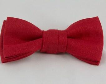 Handmade Red Irish Linen Clip-on Bow Tie  from Vintage Linen Fabric Bowtie