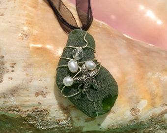 Green Sea Glass and Starfish Pendant