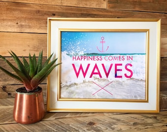 Happiness Comes in Waves Tropical Surf Glossy Print / 8x10 / Great Gift Idea! / FREE SHIPPING!