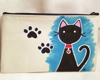 Black Kitty Cat Hand Painted Zipper Pouch