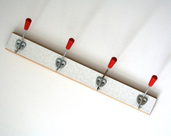 Red. 4 hook. Coat Rack. Mid century. Germany (H127)