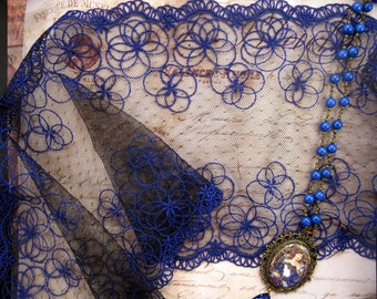 wide Black Lace on tulle with electric blue geometric pattern